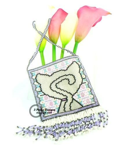 Good Kitty Peyote Stitch Amulet Bag PDF Pattern by 3 Peeps Designs
