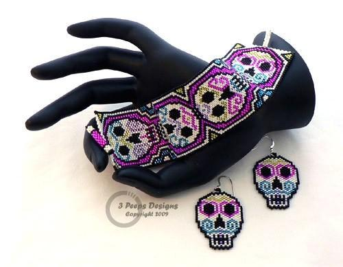 Sugar Skulls Peyote Cuff  and Earrings PDF Pattern by 3 Peeps Designs