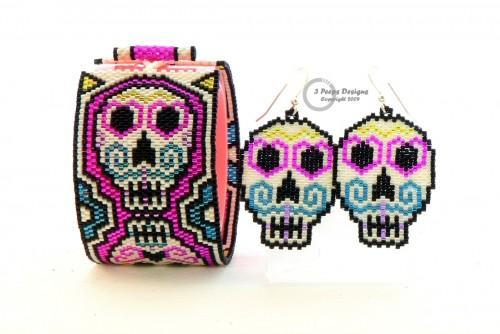 Sugar Skulls Peyote Cuff  and Earrings PDF Pattern by 3 Peeps Designs