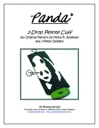 Panda 2-Drop Peyote Cuff Pattern by 3 Peeps Designs
