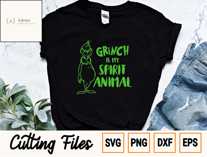 Merry Christmas SVG/ Grinch Is My Sprit Animal SVG/ Grinch Christmas SVG,  Eps