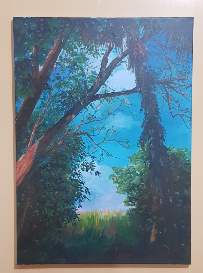 Original painting, acrylic paint on canvas, natural scenery, mysterious power