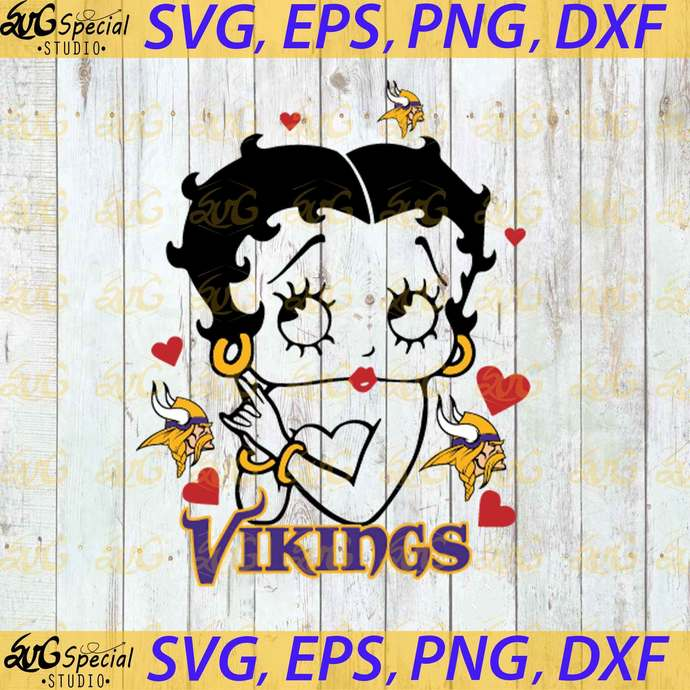 Minnesota Vikings Betty Boop Svg, Love Vikings Svg, Cricut File, Clipart, Sport