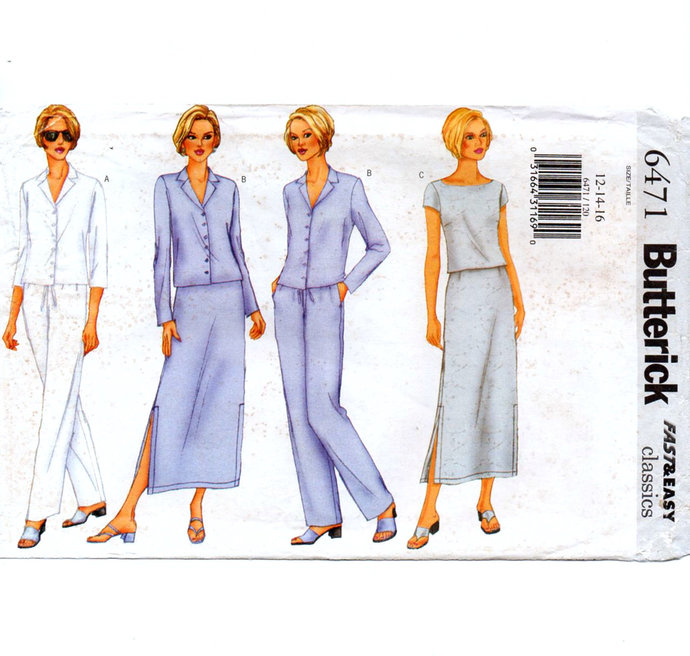 Butterick 6471 Misses Jacket, Top, Skirt, Pants 90s Vintage Sewing Pattern UNCUT