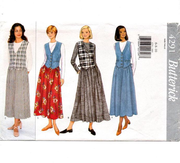 Butterick 4291 Misses Midi Dress 90s Vintage Sewing Pattern UNCUT Size 6, 8, 10