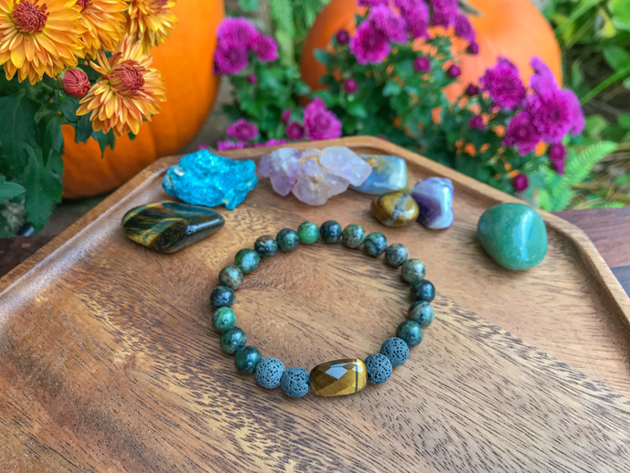 Tigers eye & Moss Agate essential oil diffuser bracelet