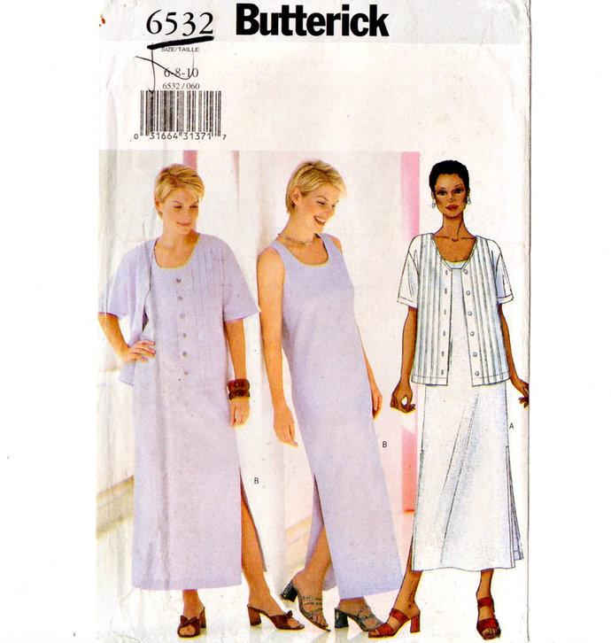 Butterick 6532 Misses Tank Dress, Jacket  Vintage Sewing Pattern UNCUT Size 6,