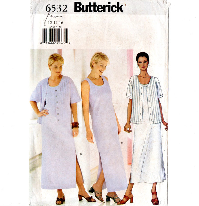 Butterick 6532 Misses Tank Dress, Jacket  Vintage Sewing Pattern UNCUT Size 12,