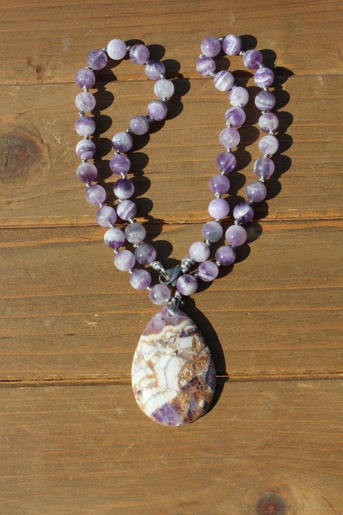 Activate Chakras, Amethyst Beaded Necklace, Boho Jewelry by KnottedUp