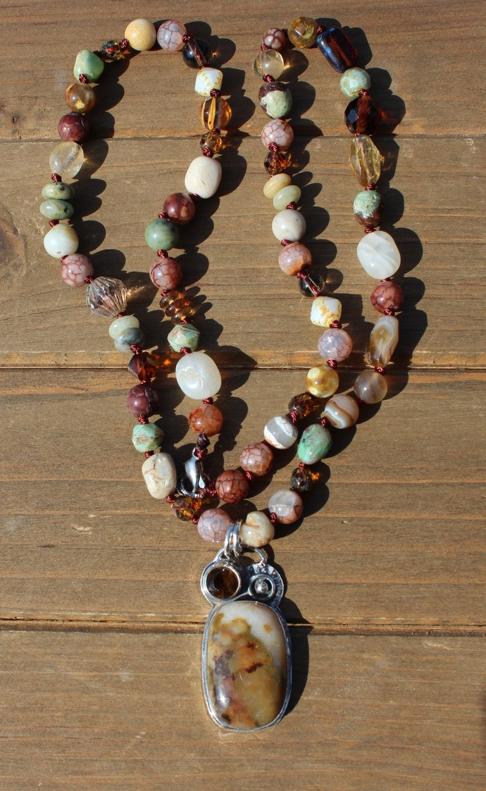 Natural Stone Jewelry, Hand Knot, Beaded Necklace by KnottedUp, Jewelry gifts