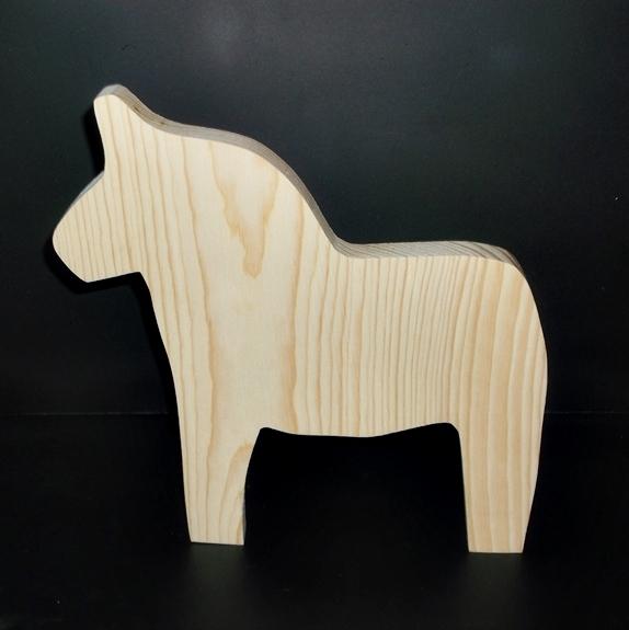 Dala Horse Cutout Unfinished Wood D-3-.75