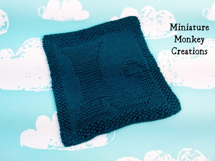 Blue-Green Witch's Boot Dishcloth