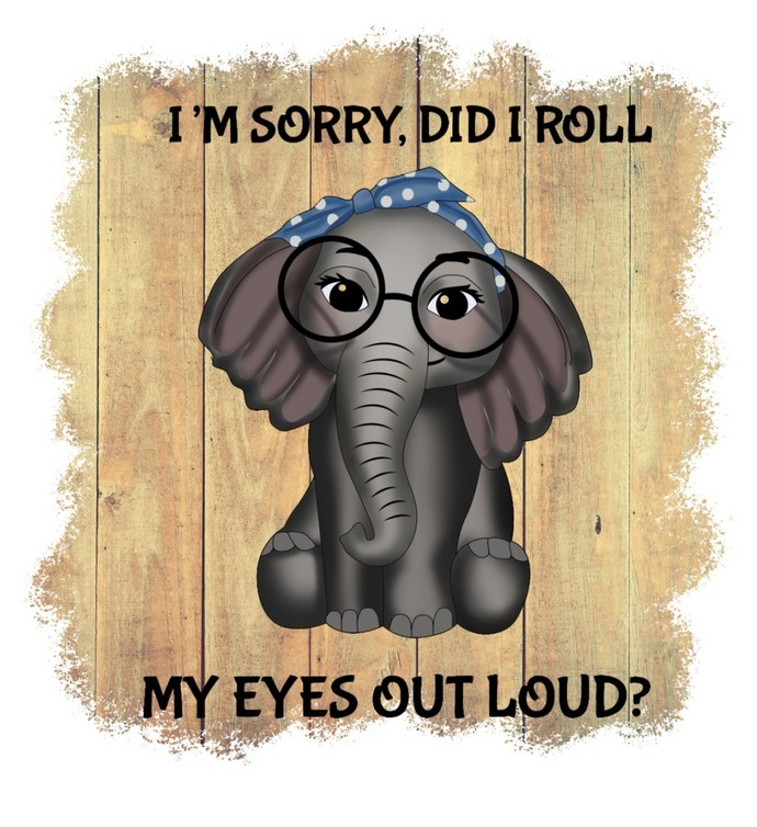 I'm Sorry Did I Roll My Eyes Out Loud, Cute Elephants, Birthday Gift, PNG,