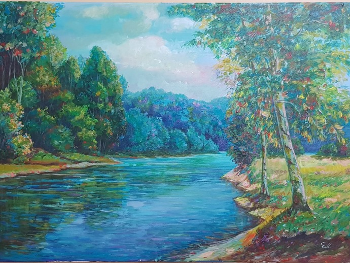 Original drawing Acrylic paint on canvas Natural scenery, forests and streams