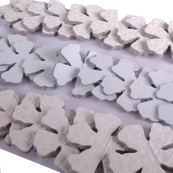 Die Cut Flowers in Off-White Leather