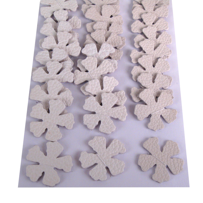Off-White Leather Die Cut Flowers