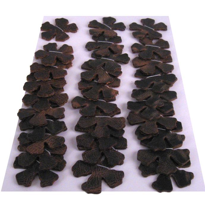 Distressed Brown Leather Die Cut Flowers