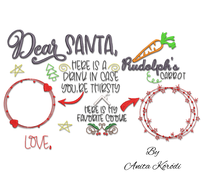 Dear Santa Cookies and Milk machine embroidery designs christmas doodle tray