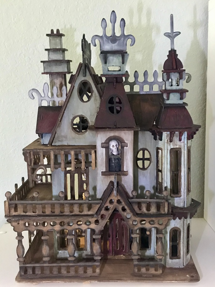 Haunted Victorian Dollhouse - Lighted - half scale, furnished OOAK miniature