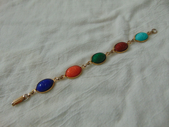 vintage scarab bracelet colorful
