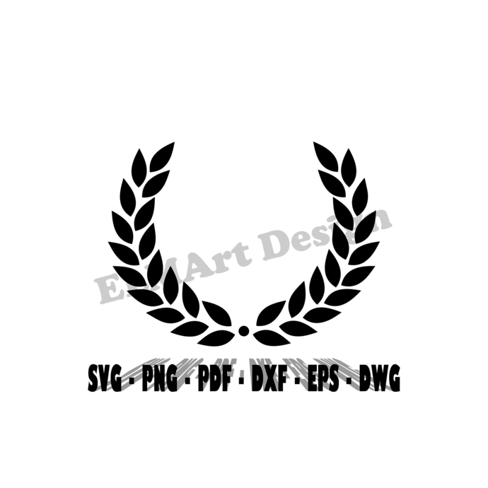 Laurel Wreath design in download 6 files in vector graphics Svg Png Pdf Dwg Dxf