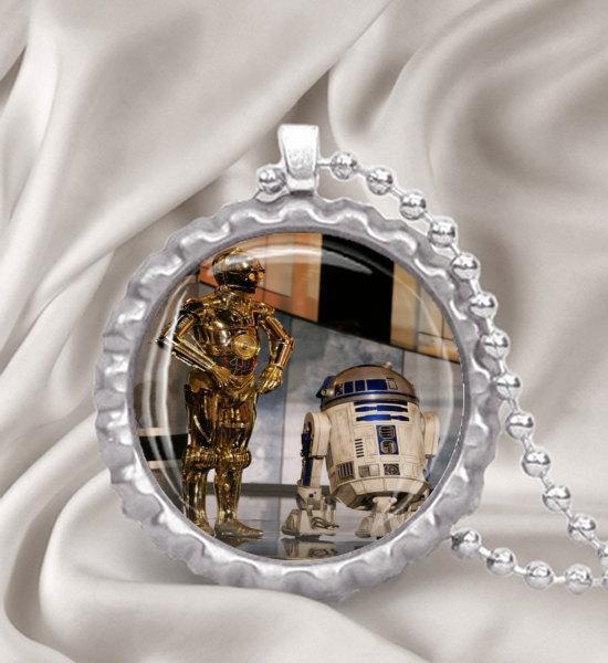 Star Wars C3PO & R2D2 Bottle Cap  Pendant Necklace