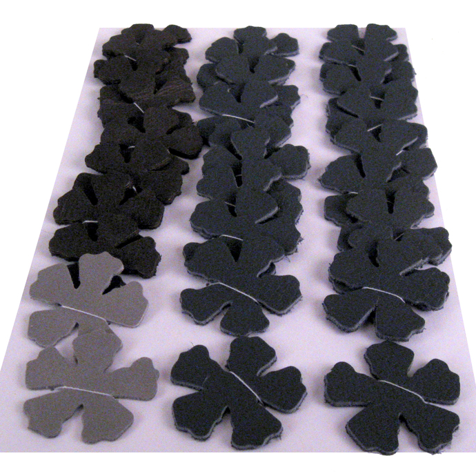 Shades of Gray Leather Die Cut Flowers