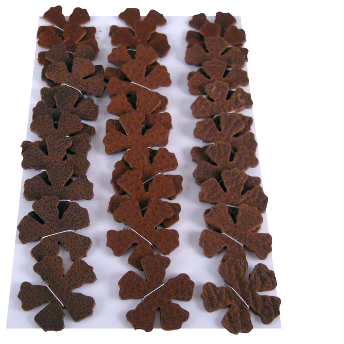 Leather Die Cut Flower set 30 Brown