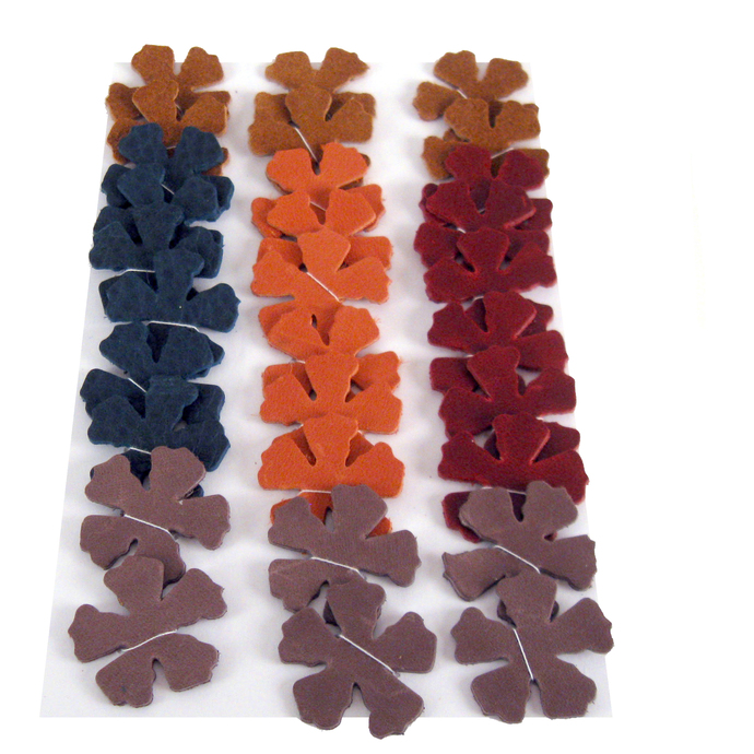 30 Multicolored Leather Die Cut Flowers