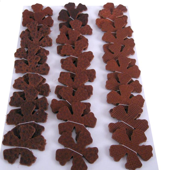 Brown Textured Leather Die Cut Flowers
