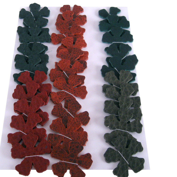 Green Red Leather Die Cut Flowers