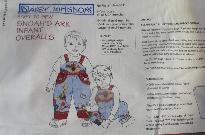 Daisy Kingdom, Toddler, Jumper, Romper, Panel, 6-24 Months, DIY, Noah's Ark,