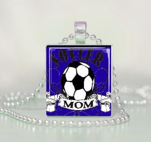 Blue Soccer Mom Scrabble Tile Pendant Necklace