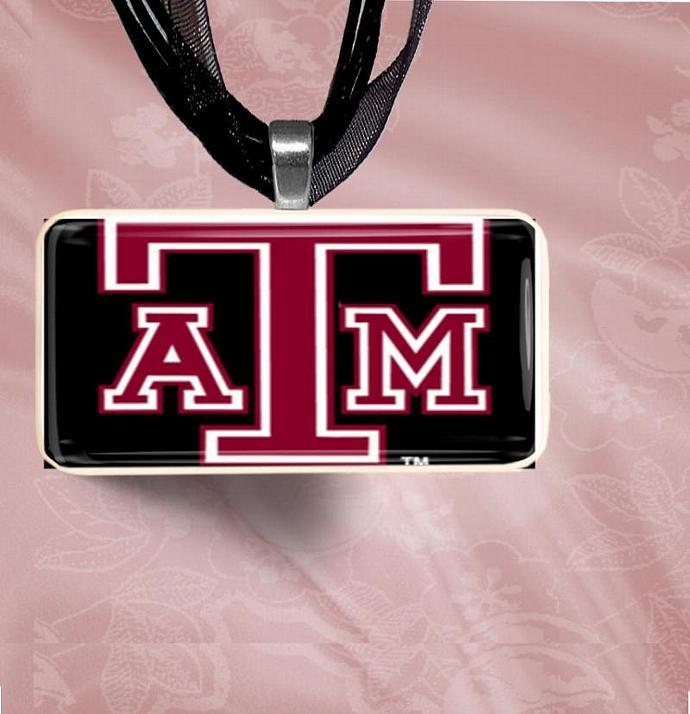 A&M Black Aggie Symbol Logo Domino Pendant Necklace