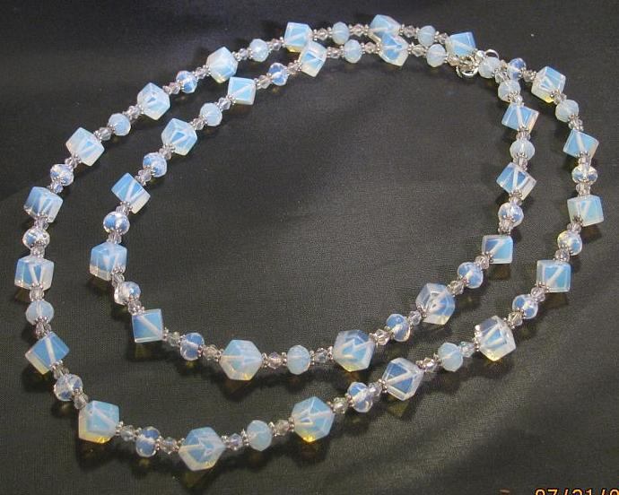 Moonstone and Opalite necklace - Long or double stranded