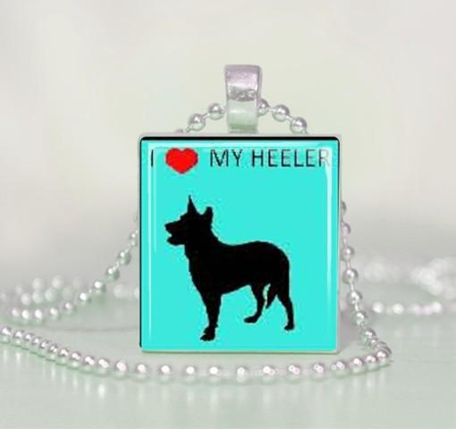 I love heart my heeler Scrabble Tile Pendant Necklace