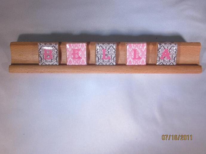 Bella Black Pink Damask Scrabble Rack Art Saying Sign Nameplate