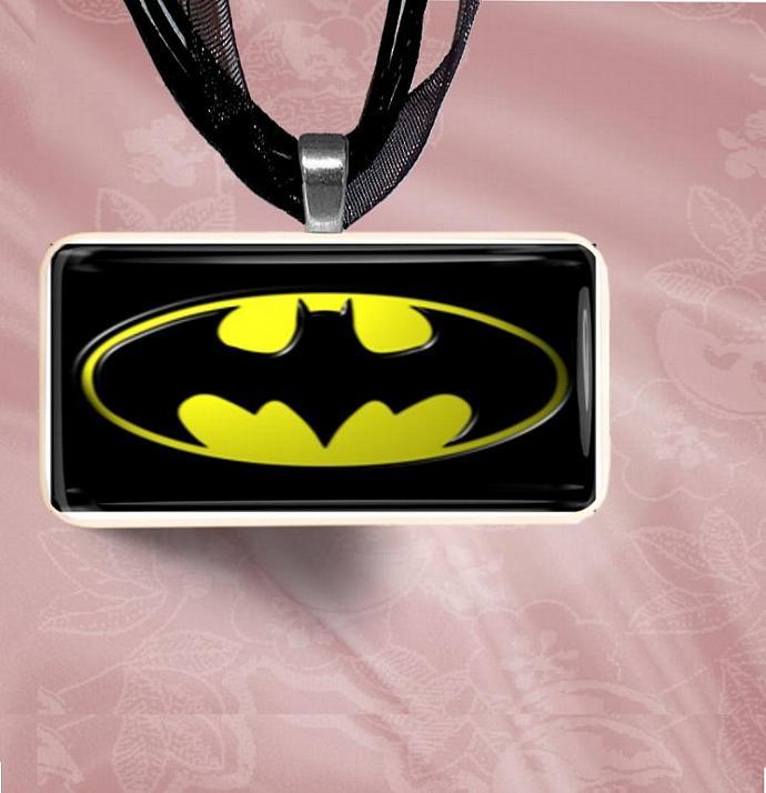 Batmand Symbol Logo Domino Pendant Necklace