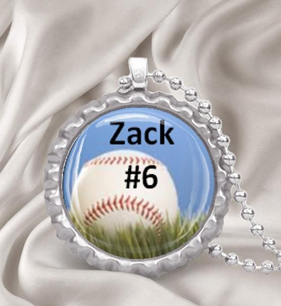 Custom Baseball Bottle Cap Necklace
