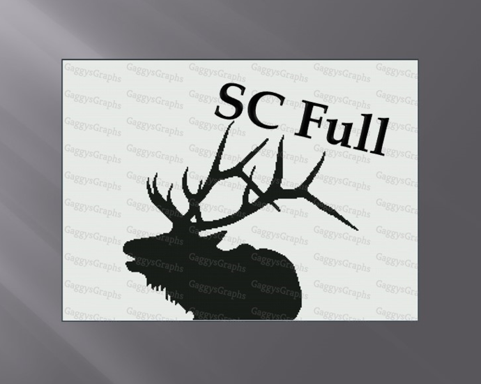 Bull Elk, SC Full, Graph + written line by line color coded block instructions