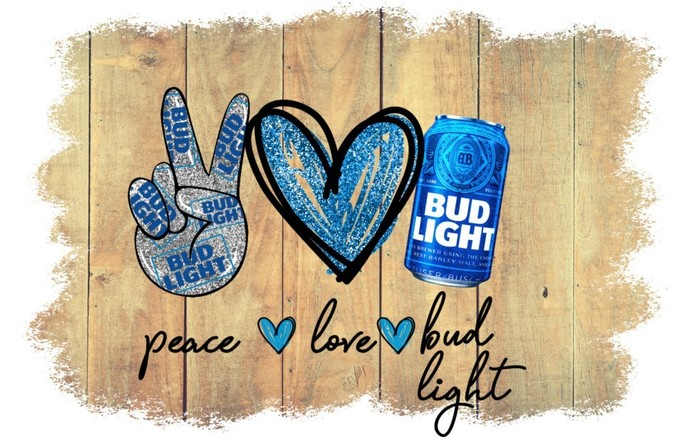 Peace Love Bud Light, this buds for you, works great for t-shirt or mask design,