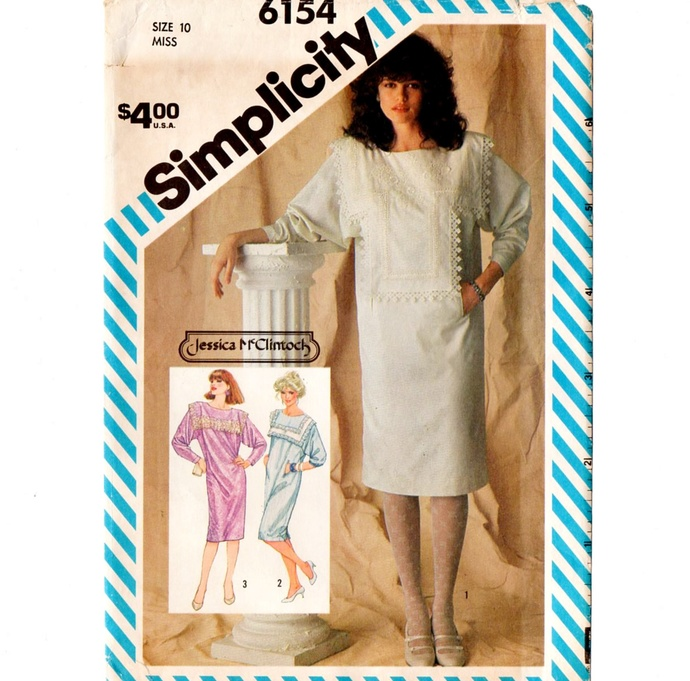 Simplicity 6154 Misses Dress Jessica McClintock 80s Vintage Sewing Pattern Uncut