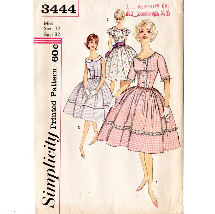 Simplicity 3444 Misses Rockabilly Dress 60s Vintage Sewing Pattern Size 12 Bust