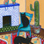 Southwestern Room Original Cat Folk Art Painting