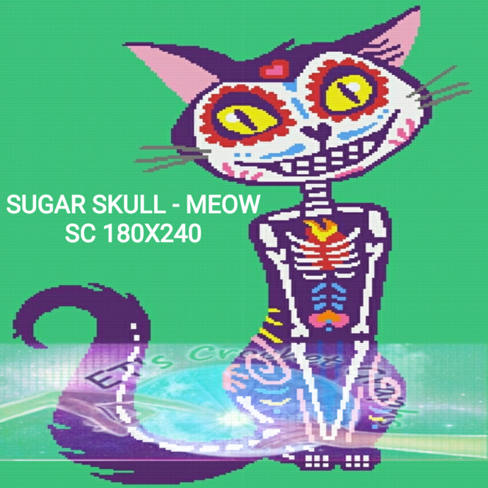 Sugar Skull - Meow Adult Throw SC includes graph with color block instructions