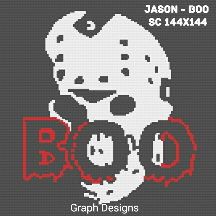 Jason - Boo SC 144x144 Lapghan includes graph with color block instructions