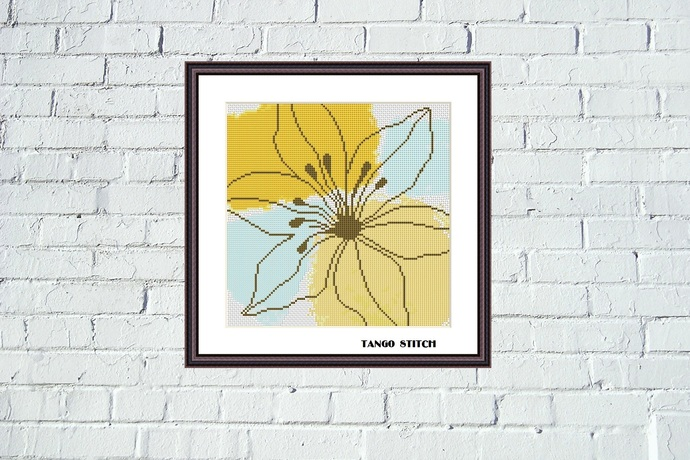 Blue yellow flower cross stitch pattern