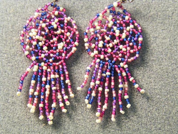 Mardi Gras OOAK Mandala Shield Earring