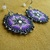 Rosette Beaded Beautiful Earrings in Purples,Hematite and Silver with gorgeous