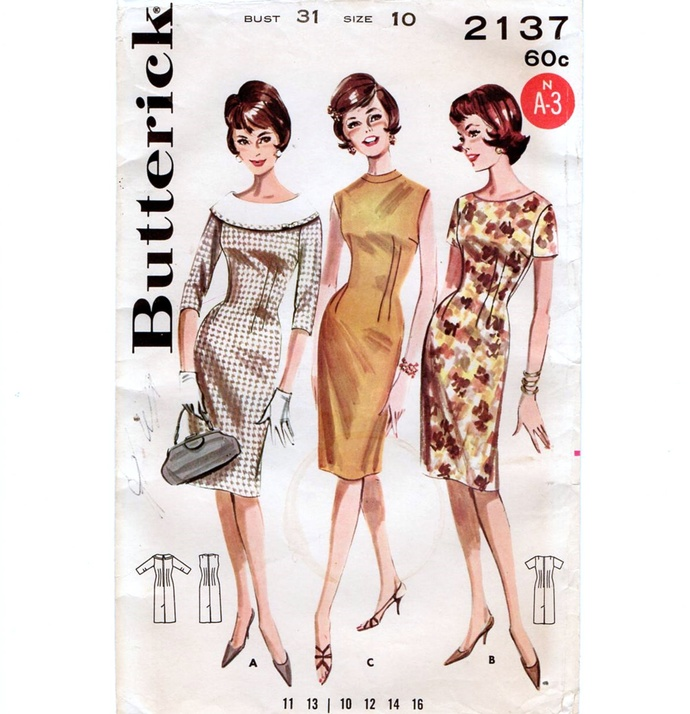 Butterick 2137 Misses Princess Sheath Dress 60s Vintage Sewing Pattern Uncut